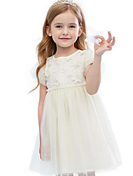 cheap -Kids Girls' Solid Colored Dress Beige