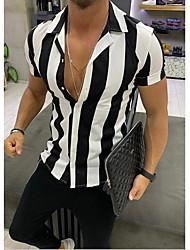 cheap -Men's Striped Shirt Daily Weekend Black / Yellow / Orange / Short Sleeve