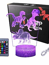 cheap -Dinosaur 3D Illusion LED Night Lamp Desk Lamp 3D Optical Illusion Visualization LED Night Lights Table Lamp 16 Colors 3D Illusion Lights Multicolored USB Power for Living Bed Room Bar Best Gift Toys
