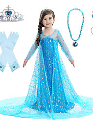 cheap -Princess Elsa Dress Flower Girl Dress Girls' Movie Cosplay A-Line Slip Pattern Dress Vacation Dress White Blue Pink Dress Children's Day Masquerade Sequin Cotton Voile