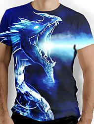 cheap -Men's T shirt Graphic Animal Short Sleeve Daily Tops Basic Elegant Blue