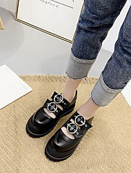 cheap -Women's Flats Summer Creepers Round Toe Daily PU Black