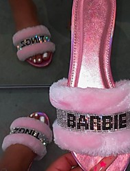 cheap -Women's Slippers & Flip-Flops Fuzzy Slippers Outdoor Slippers Flat Heel Open Toe Daily House Spa Faux Fur Letter Slogan Summer Black Pink