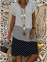 cheap -Women's A-Line Dress Knee Length Dress - Short Sleeves Polka Dot Striped Print Summer V Neck Casual Boho Daily 2020 White M L XL XXL XXXL