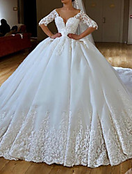 cheap -Ball Gown Wedding Dresses V Neck Chapel Train Lace Chiffon Over Satin Half Sleeve Formal Sexy with Embroidery Appliques 2020