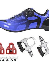 Недорогие -SIDEBIKE Взрослые Обувь для велоспорта Углеволокно Дышащий Со светоотражающими полосками Шоссейные велосипеды Велосипедный спорт / Велоспорт Велосипеды для активного отдыха Буле / черный Муж. Жен.