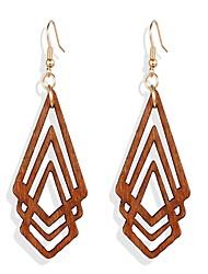 cheap -Women's Dangle Earrings Geometrical Fashion Punk Romantic Cool Wooden Earrings Jewelry Brown For Date Vacation Festival 1 Pair