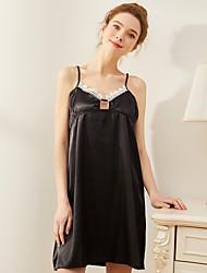 Недорогие -Жен. Глубокий V-образный вырез Loungewear Пижамы Цветочный принт / Однотонный