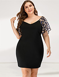 cheap -Women's Bodycon Dress - Short Sleeves Leopard Solid Color Ruffle Summer Casual Sexy Party Going out 2020 Black L XL XXL XXXL XXXXL