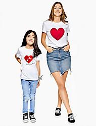 ieftine -Mama și cu mine Activ De Bază Grafic Imprimeu Manșon scurt Regular Tricou Alb
