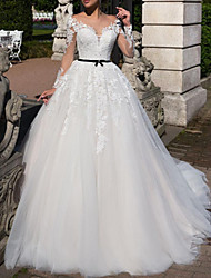 cheap -A-Line Wedding Dresses Off Shoulder Tea Length Tulle Short Sleeve Vintage Sexy Wedding Dress in Color See-Through with Sashes / Ribbons Embroidery Appliques 2020