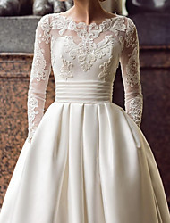cheap -Ball Gown Wedding Dresses Jewel Neck Sweep / Brush Train Lace Satin Long Sleeve Romantic See-Through with Embroidery Appliques 2020