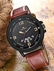 cheap -Men's Dress Watch Quartz Nylon Genuine Leather 30 m Water Resistant / Waterproof Calendar / date / day Day Date Analog Fashion Cool - White Red Green One Year Battery Life