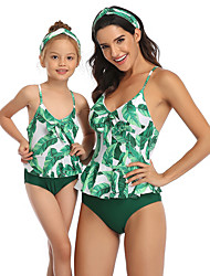 cheap -Mommy and Me Active Sweet Tropical Leaf Floral Geometric Color Block Backless Bow Criss Cross Sleeveless Short Above Knee Swimwear Green