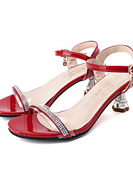 cheap -Women's Sandals Summer Pumps Open Toe Minimalism Daily Outdoor PU Black / Red / Gold