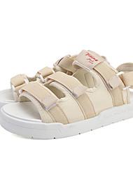 cheap -Women's Sandals Flat Sandal Summer Flat Heel Open Toe Casual Daily Outdoor Elastic Fabric Black / White / Black / Beige