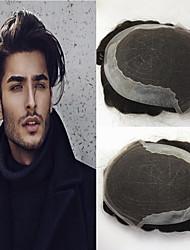 Недорогие -Муж. Натуральные волосы Накладки для мужчин Волнистый Бесклеевая кружевная лента Лучшее качество / новый / Горячая распродажа / Природные волосы