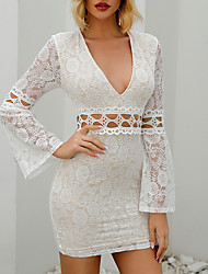cheap -Women's White Plunging Neck Cut-out Lace Bodycon Dress MM0400