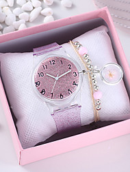 cheap -Women's Quartz Watches New Arrival Fashion Silver Pink Rubber Chinese Quartz Blushing Pink Silver Chronograph Cute Creative 2 Piece Analog One Year Battery Life