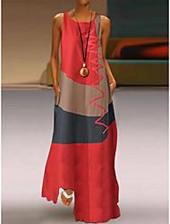 cheap -Women's Plus Size Maxi long Dress - Sleeveless Color Block Patchwork Summer Casual Holiday Vacation 2020 White Red Khaki Dusty Blue S M L XL XXL XXXL XXXXL XXXXXL