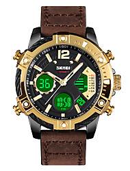 cheap -SKMEI Men's Sport Watch Digital Modern Style Sporty Classic Calendar / date / day Analog - Digital Black Gold / One Year / Leather / Chronograph / Three Time Zones / Large Dial