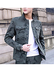 cheap -Men's Holiday / Going out Spring & Summer Regular Jacket, Solid Colored / Camo / Camouflage Turndown Long Sleeve Polyester Army Green / Light Green