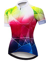 cheap -21Grams Women's Short Sleeve Cycling Jersey Spandex Polyester Red+Blue Plaid Checkered Bike Jersey Top Mountain Bike MTB Road Bike Cycling UV Resistant Breathable Quick Dry Sports Clothing Apparel