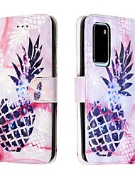 cheap -Case For Huawei P40 / Huawei P40 Pro / Huawei P30 lite Wallet / Card Holder / with Stand Purple Pineapple PU Leather / TPU for Huawei Mate 30 Lite / Honor 10 Lite / Honor 20 Pro