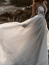 cheap -A-Line Wedding Dresses Spaghetti Strap Plunging Neck Sweep / Brush Train Lace Tulle Sleeveless Beach Sexy See-Through with Pleats Appliques 2020