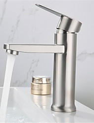 cheap -Stainless Steel Bathroom Faucet,Silvery Wire Drawing Bathroom Sink Faucet with Cold Water Only