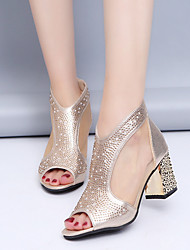 cheap -Women's Sandals Summer Chunky Heel Peep Toe Daily Solid Colored PU Gold / Silver