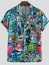 cheap -Men's Cartoon Shirt - Cotton Tropical Hawaiian Holiday Beach Button Down Collar Blue / Light Blue / Short Sleeve