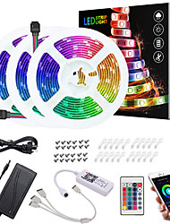 cheap -ZDM 15M(3*5M) LED Light Strips RGB Tiktok Lights App Intelligent Control Bluetooth Music Sync Waterproof Flexible 5050 SMD 450 LEDs IR 24 Key Bluetooth Controller with Installation Package 12V 6A Adap