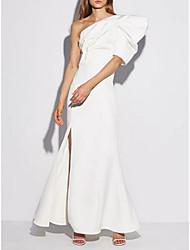 cheap -Mermaid / Trumpet Elegant White Engagement Formal Evening Dress One Shoulder Sleeveless Floor Length Spandex with Ruffles Split 2020