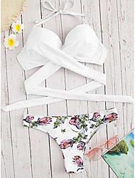 cheap -Women's Basic Strap Triangle Cheeky High Waist Bikini Swimwear Swimsuit - Floral Solid Colored Print S M L Wine White Black Blushing Pink Green
