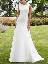 cheap -A-Line Wedding Dresses Jewel Neck Court Train Lace Satin Sleeveless Simple Sexy with 2021