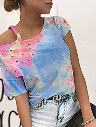 cheap -Women's T-shirt Tie Dye Cut Out Tops Cotton One Shoulder Blue Blushing Pink Orange / Short Sleeve