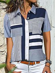 preiswerte -Damen Gestreift Hemd Alltag Marineblau
