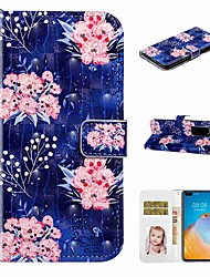 cheap -Case For Huawei P40 / Huawei P40 Pro / Huawei P40 Lite Wallet / Card Holder / with Stand Full Body Cases Pink Flower PU Leather / TPU for Huawei PSMART 2019 / Honor 10 Lite