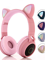 cheap -Over-ear Cat Ear Headphones Wireless Hifi Music Stereo Bass Bluetooth 5.0 Headset LED Light Mobile Phones Girls Kids Gifts