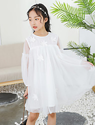 cheap -Kids Little Girls' Dress White Solid Colored Lace White Above Knee Long Sleeve Cute Sweet Dresses Children's Day Regular Fit