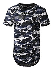 preiswerte -Herrn Geometrisch Druck T-shirt Grundlegend Alltag Rote / Armeegrün / Marineblau