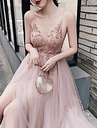 cheap -A-Line Luxurious Pink Wedding Guest Prom Dress V Neck Sleeveless Sweep / Brush Train Tulle with Beading Split 2020
