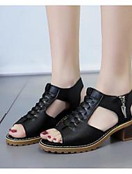 cheap -Women's Sandals Flat Sandal Summer Chunky Heel Peep Toe Daily PU White / Black / Beige