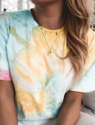 cheap -Women's Tie Dye T-shirt Daily Going out Blue / Purple / Yellow / Fuchsia / Orange