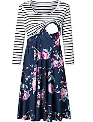 cheap -Women's A-Line Dress Midi Dress - Long Sleeve Striped Floral Spring Summer Casual 2020 Blue Red Green Gray S M L XL XXL