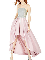 cheap -A-Line Color Block Pink Party Wear Cocktail Party Dress Strapless Sleeveless Asymmetrical Satin with Pleats Sequin 2020