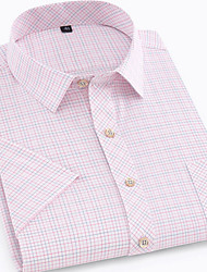 cheap -Men's Plaid Print Shirt Daily Button Down Collar Blushing Pink / Short Sleeve
