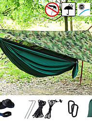 cheap -Camping Hammock with Mosquito Net Hammock Rain Fly Outdoor Portable Sunscreen Anti-Mosquito Ultra Light (UL) Breathable Parachute Nylon with Carabiners and Tree Straps for 2 person Hunting Fishing