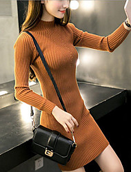 cheap -Women's Sweater Dress - Long Sleeve Solid Color Fall Winter Casual 2020 Wine White Black Khaki Green Gray One-Size